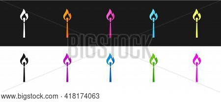 Set Burning Match With Fire Icon Isolated On Black And White Background. Match With Fire. Matches Si