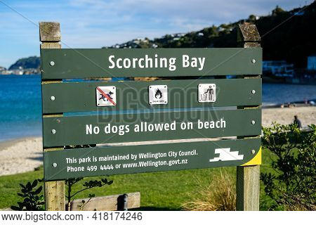 Scorching Bay, Wellington, New Zealand 25th April 2021. Wellington City Council Sign