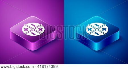 Isometric Xyz Coordinate System Icon Isolated On Blue And Purple Background. Xyz Axis For Graph Stat