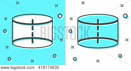 Black Line Geometric Figure Cylinder Icon Isolated On Green And White Background. Abstract Shape. Ge