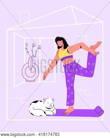 Home Sport And Fitness Banner Or Poster Concept With Young Woman Exercising At Home, Vector Cartoon