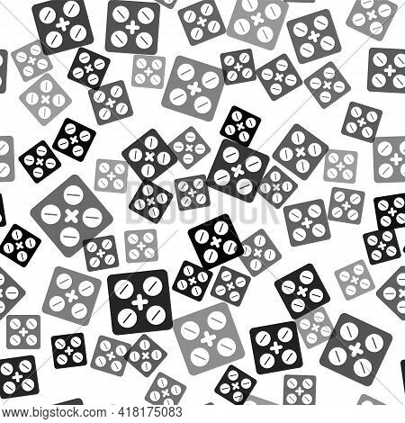 Black Pills In Blister Pack Icon Isolated Seamless Pattern On White Background. Medical Drug Package