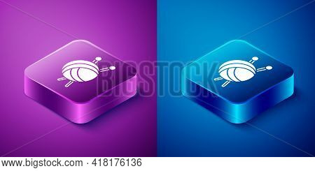 Isometric Yarn Ball With Knitting Needles Icon Isolated On Blue And Purple Background. Label For Han