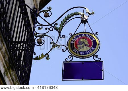 Bordeaux , Aquitaine France - 04 22 2021 : Paulaner Logo Brand And Restaurant Text Sign Of Beer On S