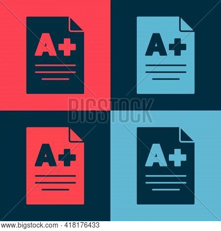 Pop Art Exam Sheet With A Plus Grade Icon Isolated On Color Background. Test Paper, Exam, Or Survey