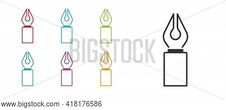 Black Fountain Pen Nib Icon Isolated On White Background. Pen Tool Sign. Set Icons Colorful. Vector