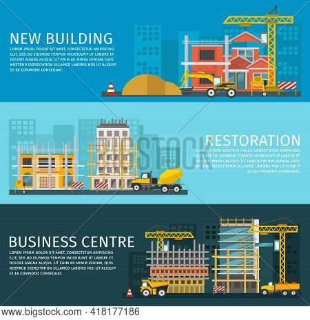 Construction Horizontal Banners Set With New Building Restoration Of Houses And Business Centre Isol