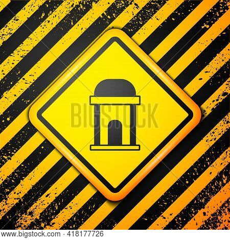 Black Old Crypt Icon Isolated On Yellow Background. Cemetery Symbol. Ossuary Or Crypt For Burial Of