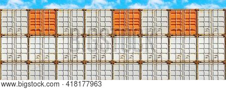 Panorama Of Colorful Stack Of Container Shipping At Dockyard
