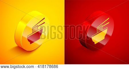 Isometric Asian Noodles In Bowl And Chopsticks Icon Isolated On Orange And Red Background. Street Fa