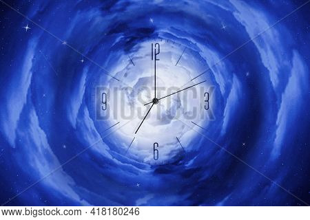 Clock In The Starry Cosmic Sky. Leaving Time. Time And Space. Time Concept. Abstraction.