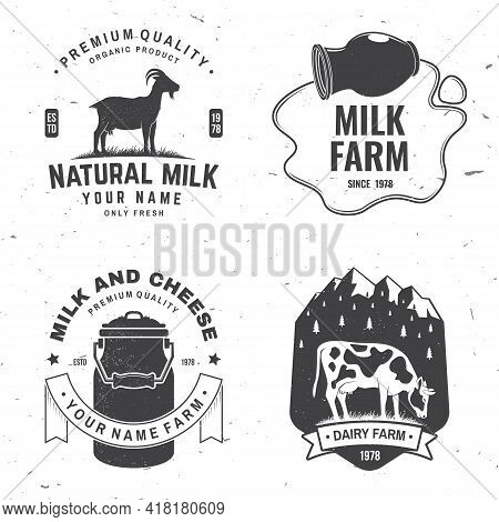 Dairy Farm. Only Fresh Milk Badge, Logo. Vector. Typography Design With Cow , Goat Silhouette. Templ