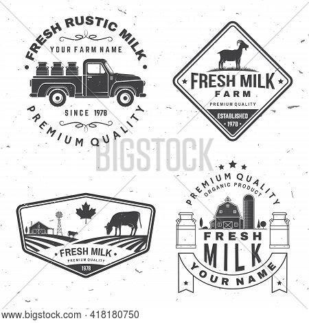 Fresh Rustic Milk Badge, Logo. Vector. Typography Design With Cow, Milk Farm, Truck Silhouette. Temp