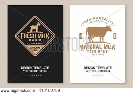Dairy Farm. Only Fresh Milk. Vector. Flyer, Brochure, Banner, Poster Design With Cow, Goat Silhouett