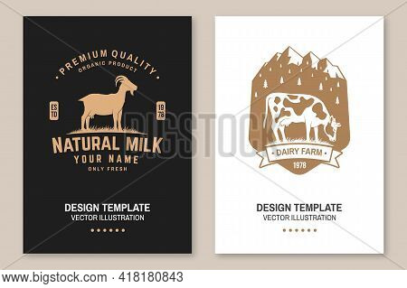 Dairy Farm. Only Fresh Milk. Vector. Flyer, Brochure, Banner, Poster Design With Cow, Goat And Mount