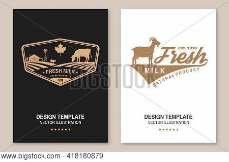 Dairy Farm. Only Fresh Milk. Vector. Flyer, Brochure, Banner, Poster Design With Cow, Goat And Farm