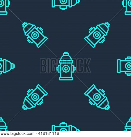 Green Line Fire Hydrant Icon Isolated Seamless Pattern On Blue Background. Vector