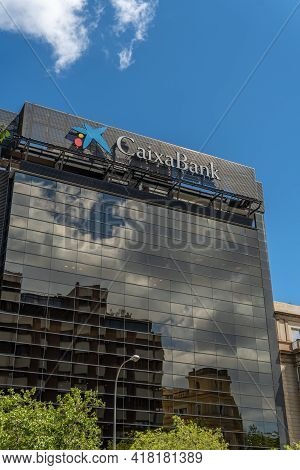 Palma De Mallorca, Spain; April 23 2021: Main Facade Of The Headquarters Of The Financial Institutio