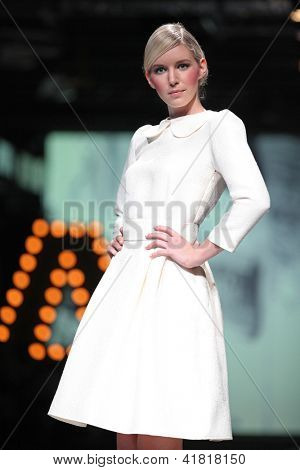 ZAGREB, CROATIA - OCTOBER 19: Fashion model wears clothes made by Monika Sablic at 'Croaporter' fashion show, on October 19, 2012 in Zagreb, Croatia.