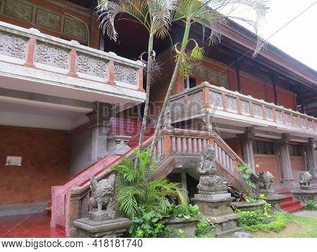 Denpasar, Indonesia - October 18, 2019 : The Building Exterior Of Bali Museum.