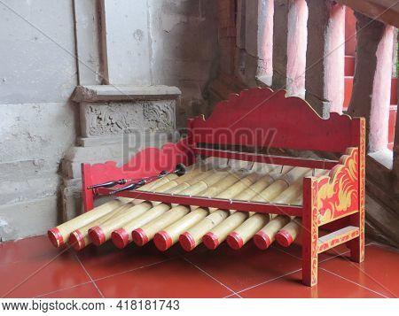 Denpasar, Indonesia - October 18, 2019 : Balinese Wooden Musical Instrument Called Rindik At Bali Mu