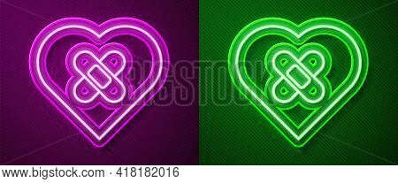 Glowing Neon Line Healed Broken Heart Or Divorce Icon Isolated On Purple And Green Background. Shatt