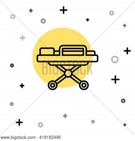 Black Line Stretcher Icon Isolated On White Background. Patient Hospital Medical Stretcher. Random D