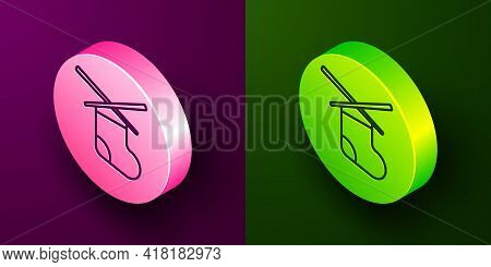 Isometric Line Knitting Needles Icon Isolated On Purple And Green Background. Label For Hand Made, K