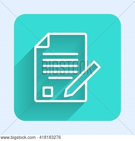 White Line Exam Sheet And Pencil With Eraser Icon Isolated With Long Shadow. Test Paper, Exam, Or Su