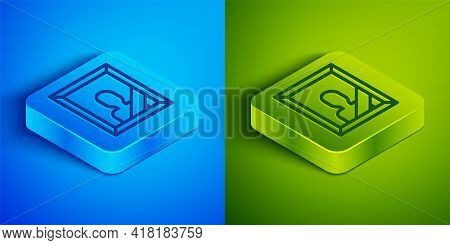 Isometric Line Mourning Photo Frame With Black Ribbon Icon Isolated On Blue And Green Background. Fu