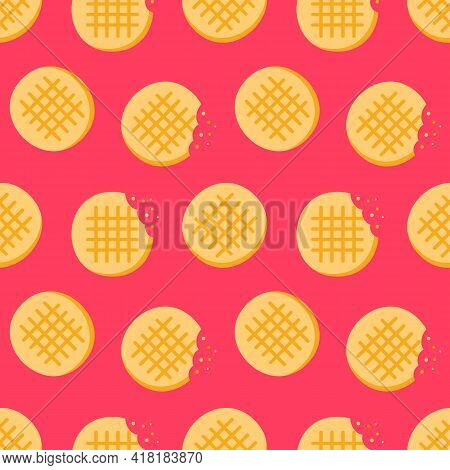 Cute Cartoon Style Peanut Butter Cookies, Whole And With Bite Marks Vector Seamless Pattern Backgrou