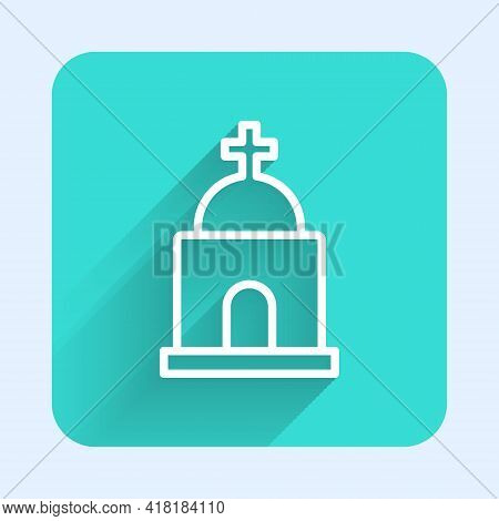 White Line Old Crypt Icon Isolated With Long Shadow. Cemetery Symbol. Ossuary Or Crypt For Burial Of