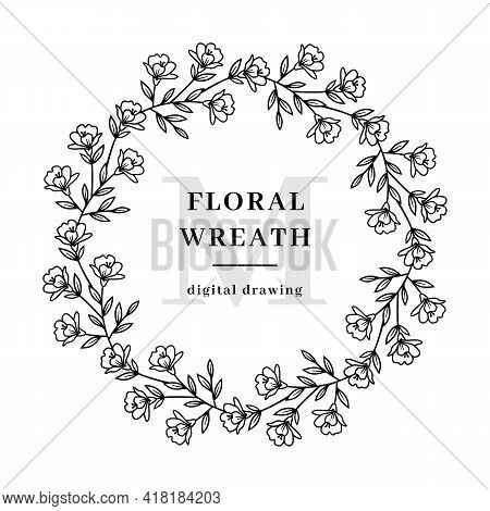 Vector Floral Wreath Flowers Branch, Circle Flower Monogram Of Small Flowers, Farmhouse Floral Frame