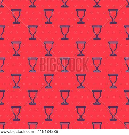 Blue Line Christian Chalice Icon Isolated Seamless Pattern On Red Background. Christianity Icon. Hap
