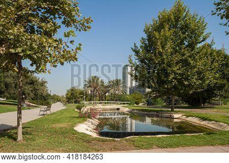 A Landscape Of A Garden Turia - Jardin Turia In Valencia, Spain. The Calm, Rest Place Full Of Beauti