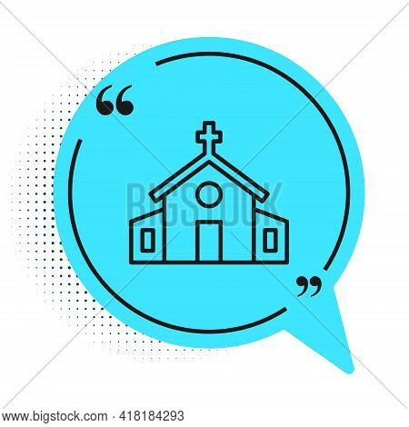 Black Line Church Building Icon Isolated On White Background. Christian Church. Religion Of Church.