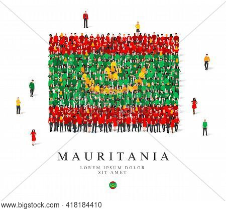 A Large Group Of People Are Standing In Green, Yellow And Red Robes, Symbolizing The Flag Of Maurita