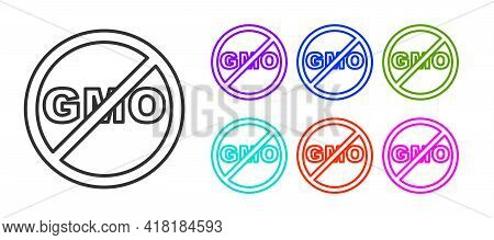 Black Line No Gmo Icon Isolated On White Background. Genetically Modified Organism Acronym. Dna Food
