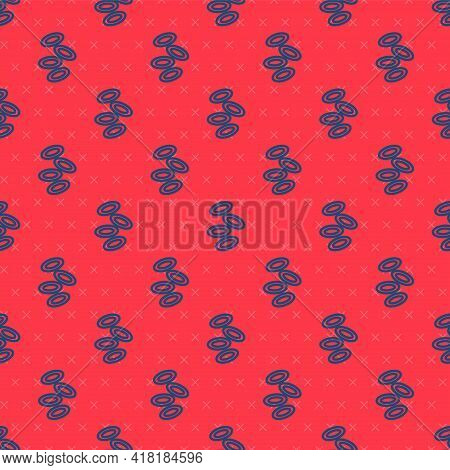 Blue Line Medical Hemoglobin Erythrocytes Icon Isolated Seamless Pattern On Red Background. Vector