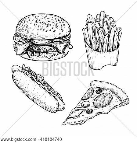 Fast Food Sketch Set. Hamburger, French Fries, Hot Dog And Pepperoni Pizza Slice. Hand Drawn Illustr