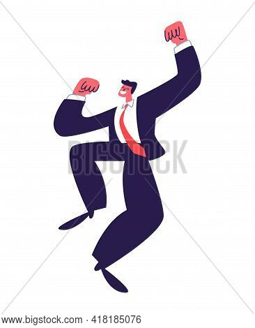 Jumping Young Man In A Suit. Active Successful Businessman Jumping In A Dark Suit With A Red Tie. Ve