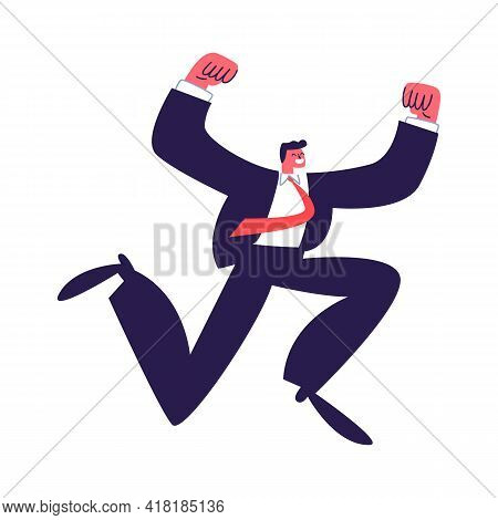 Successful Man Jumping In A Dark Suit With A Red Tie. Young Active Employee In A Suit. Vector Illust