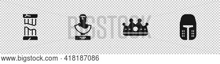 Set Broken Ancient Column, Ancient Bust Sculpture, King Crown And Medieval Iron Helmet Icon. Vector