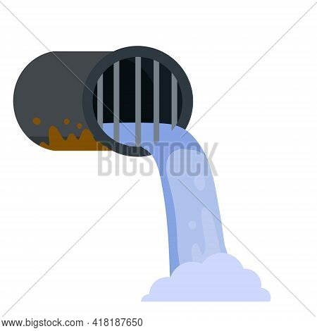 Pipe With Water. Drainage System. Flat Cartoon Illustration Isolated On White Background. Water Supp
