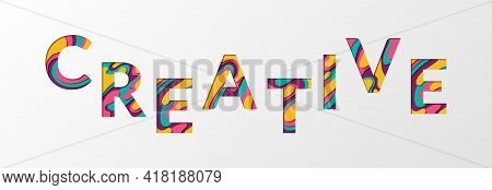 Creative Word Made Of Paper Cut Multilayer Font Letters. Creative Concept Banner Vector Illustration