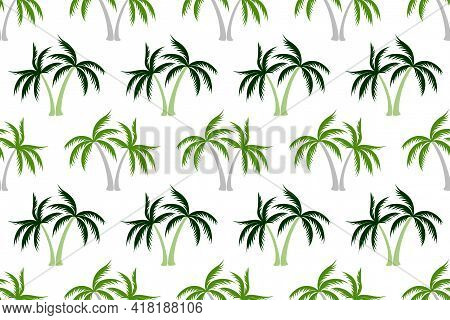 Cartoon Coconut Tropical Palm Tree Seamless Pattern Summer Holiday Vector Illustration. Exotic Leave