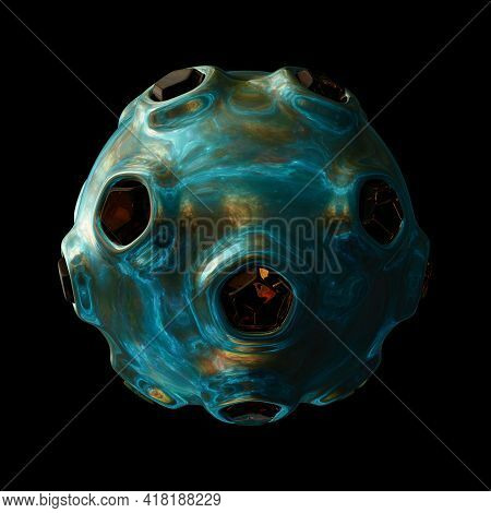 Sci-fi Orb Isolated On Black Background, 3d