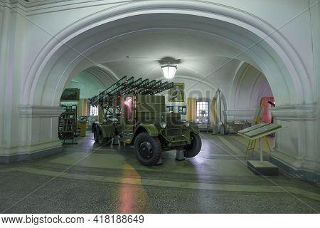 Saint Petersburg, Russia - June 30, 2017: Bm-13 - Soviet Rocket Artillery Combat Vehicle (katyusha)