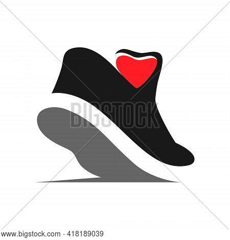 Sports Running Shoe Heart Symbol On White Backdrop. Loving Sport Concept