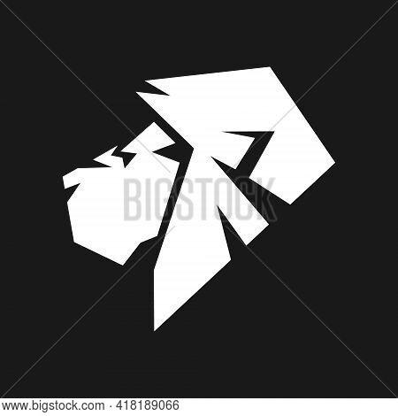 White Lion Head In Profile Portrait Symbol On Black Backdrop. Design Element